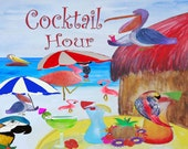 Welcome Tropical Beach Birds Art Area Rug