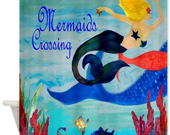Mermaids Crossing Art Shower Curtain