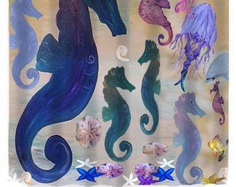 Seahorse School Shower Curtain from my original art