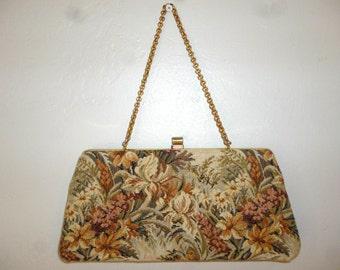 Vintage 50's - Floral - Tapestry  - Embellished Gold Tone Metal Chain Link Strap - Clutch - Handbag -  Size 10 x 5 x 1.5