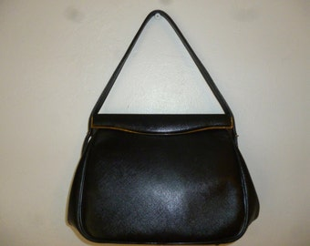 Vintage - 50's - Black - Embossed - Textured - Leather - Kelly - Handbag - with Gold Tone Hardware - size 10 x 6.5 x 3