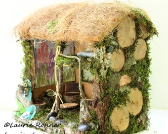 Cottage Woodland Fairy House Thatched Roof Hand Sculpted Custom Fairy Sculptures