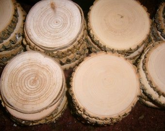 "30 Large Assorted  Blank Tree Branch Slices  4""  inch Coaster Size"
