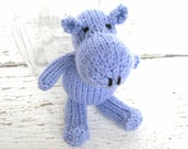 Little Hippo Stuffed Animal, Ready To Ship, Hand Knit Baby Gift, Plush Baby Toy, Newborn Photo Prop, Soft Stuffed Toy, Purple Hippo 6 1/2""