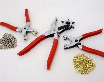 128 Piece Hole Punch, Eyelet, Snap Setting Pliers W/ 125 Eyelets-Snaps  SALE