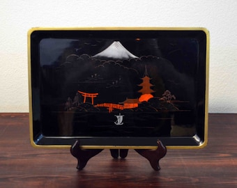 Vintage Japanese Serving Tray with Mt Fuji and Pagoda Scene