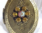 Orange and Clear Swarovski Crystal Bronze Locket Ring