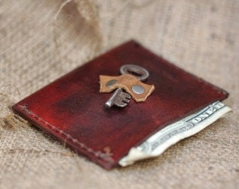 Steampunk Slim Leather Credit Card Wallet - Eco Friendly Men's Leather Wallet