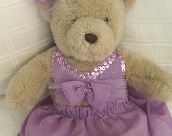 Teddy Bear Clothes, Violet Skirt, Top & Head Pieces