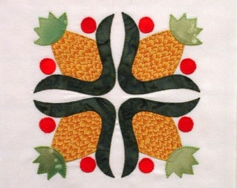 Baltimore Album Appliqued Quilt Block Pineapples