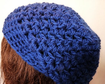 Crochet Slouchy Hat in Blue for the Fall and Winter, For Women and Teens, Beret, Rasta, Tam, Beanie