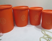 Tupperware Cannister Set of 4 Orange with Servalier Lids