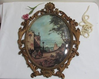 Oval Bubble Glass Metal Frame Picture Made in Italy