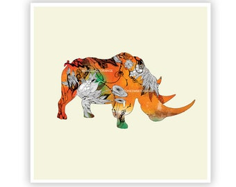 Rhino by Iveta Abolina - Floral Illustration Print