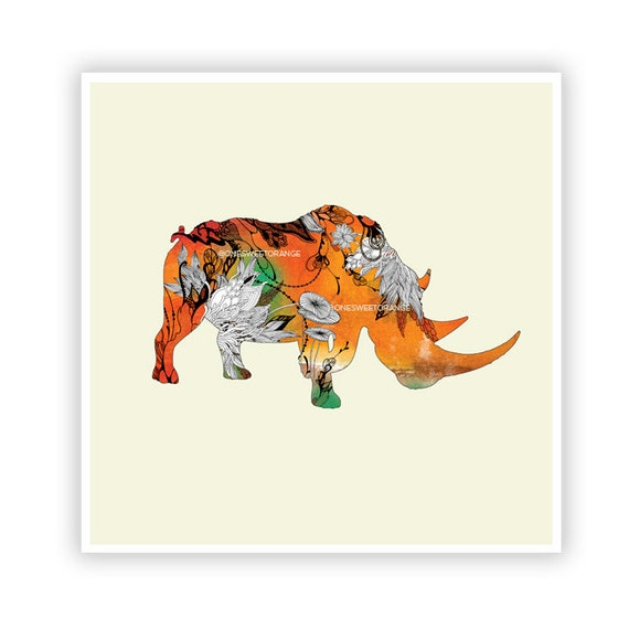 Rhino by Iveta Abolina - Floral Illustration Print