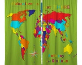 Custom Window Curtain Adventure Is Out There World Map- Any Size - Any Colors - personalized