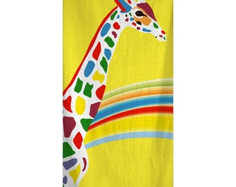Custom Personalized Rainbow GiraffeTowel -  Yellow with rainbow color giraffe -Color and Personalization of your choice