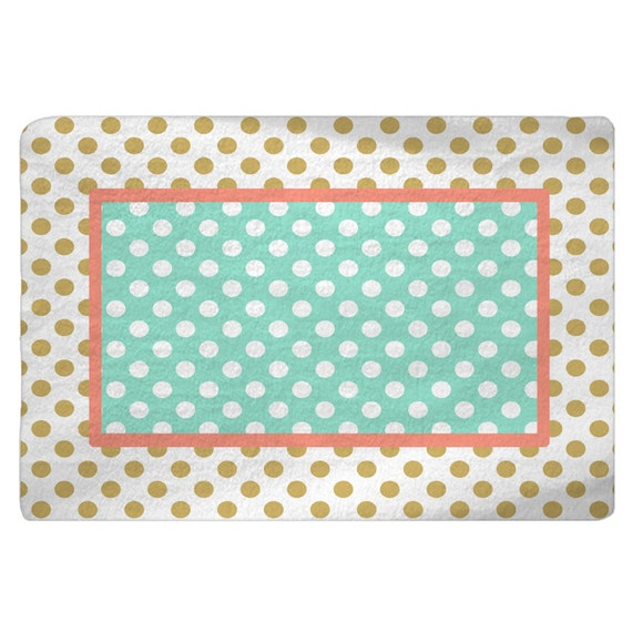 Gold-White-Coral-Mint Polka Dots Nursery Fuzzy Area Rug Size