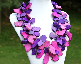 Purple STATEMENT Necklace, Turquoise Chunky Slabs, Cluster Necklace, Royal Purple, Dark Magenta, High Fashion, Couture Style by Mei Faith