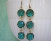Emerald Green Earrings, Triple Glass Earrings, Bridesmaid Earrings, Wedding Jewelry, Gifts Under 40, Gift for Her