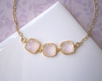 Pink Triple Square Bracelet, Blush Pink Bracelet, Gold Bracelet, Pink Necklace, Gold Necklace