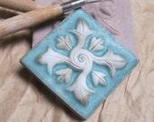Gothic Quatrefoil Handmade Accent Tile in Cerulean Blue Glaze