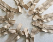 Natural Beige YKK zippers 10 pcs, choose size 4, 5, 6, 7, 8, 9, 10, 12, 14, 16, 18, 20 inches, all purpose dress zips, YKK color 572