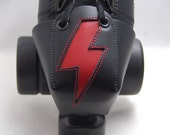 Roller Derby Leather Skate Toe Guards with Red Lightning Bolts--Or Choose Your Own Color!