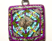 Polymer Clay Pendant with Silver Nylon Tie Cord - Handmade - Magenta Butterfly