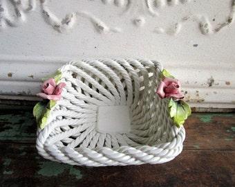Vintage Ceramic White Lattice Bowl Made in Italy Porcelain Pink Roses