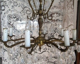 Vintage Cage Petite French Style Brass Arm Light Crystal Prisms Ornate Floral