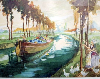 Art Deco Print Dutch Holland Girl with Duck river boat windmill scene CUTE
