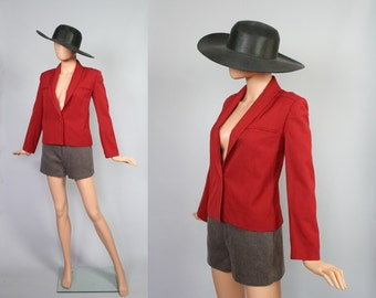 Vintage 80s Does 40s Jacket / 40s Inspired Wool Blazer / Moody Red / 1980s Cropped Jacket / Small / Medium