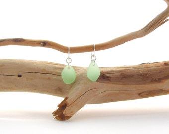 Fancy Ear Wire with Beach Glass/Sea Glass in Seafoam
