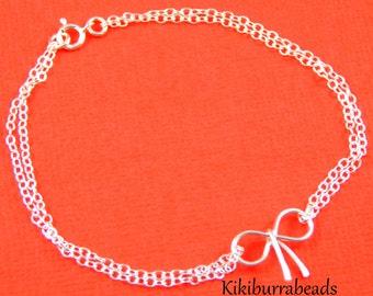 Silver Bow Bracelet, Friendship Bracelet, Silver Bow Jewellery, Sterling Silver