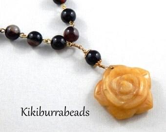 Gemstone Necklace, Jasper And Jade Statement Necklace,  OOAK