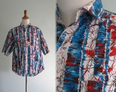 Vintage 1980s Shirt - Red and Blue Splatter Print Shirt - 80s Tribes Shirt L