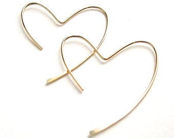 Gold Heart Hoops. 14k gold filled open heart hammered hoop earrings