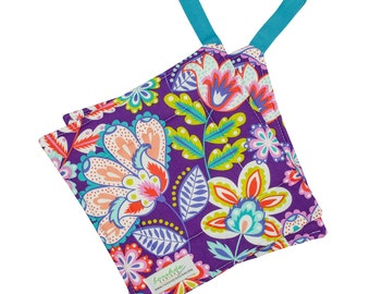 Quilted Potholder | Square Pot Holder | Hanging Hot Pad | Fabric Trivet | Cotton Hotpad | Matching Apron | Purple Fiesta |  PH0018