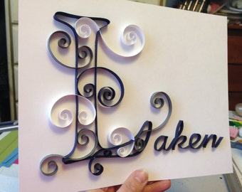Paper quilling art, 8x10 picture, paper quilled name, paper artwork, Wall art, quilled paper art work, wedding gift, baby gift, bridal gift