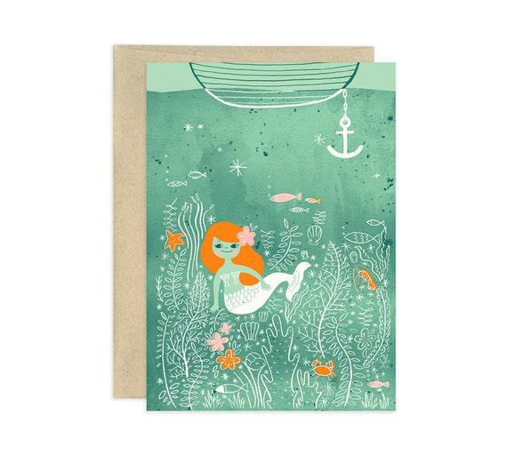 Mermaid Lagoon Illustrated Greeting Card