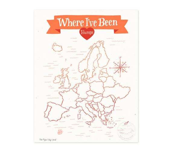 Where I've Been: Europe Map, Poppy Red Illustrated Art Print