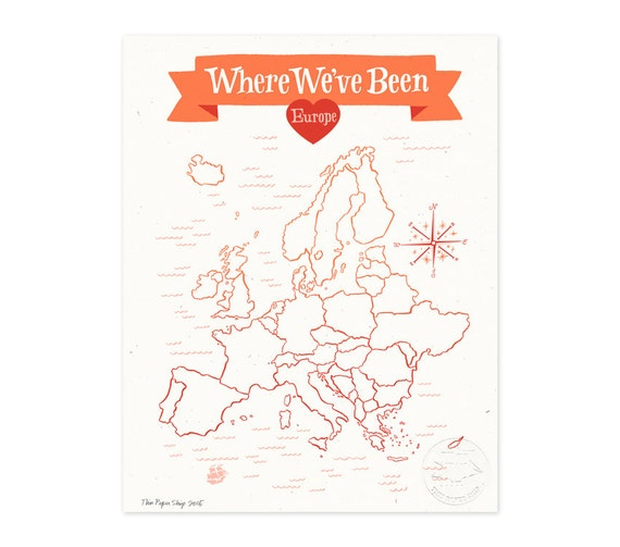 Where We've Been: Europe Map, Poppy Red Illustrated Art Print