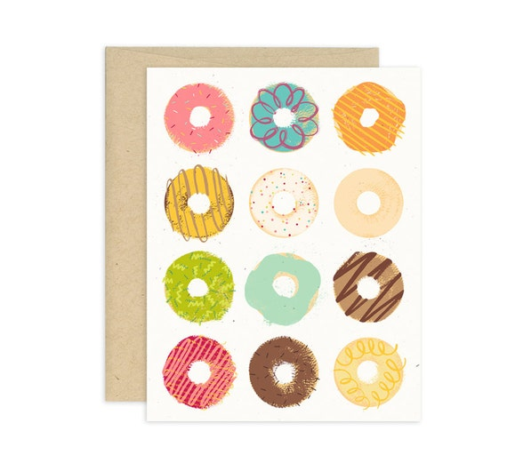 Go Nuts for Donuts Illustrated Greeting Card