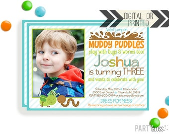Muddy Puddles Invitation | Mud Puddles Bugs Invites | Digital or Printed | Bugs Party | Bug Printables | Puddle Jumping Party