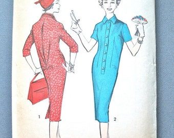 ON SALE Uncut Advance 8800 Vintage 1950's vintage sewing misses dress pattern  Step-In Chemise Dress  Wing Collar  Inverted Pleat Bust 32
