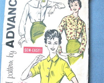 ON SALE Early 1960s Misses' Blouse Pattern Advance 9157 In Several Styles Vintage Sewing Pattern   Bust 32 inches