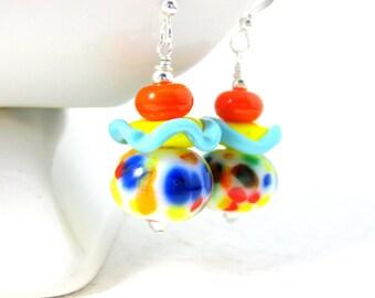 Colorful Ruffle Earrings, Lampwork Glass Earrings, Blue Red Yellow Orange Green Earrings, Funky Earrings, Fun Earrings, Whimsical Jewelry