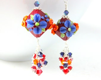 Red Purple Orange Floral Earrings, Crystal Dangle Earrings, Colorful Lampwork Earrings, Cottage Chic Earrings Nature Jewelry Flower Earrings