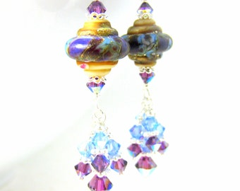 Purple Blue Ivory Glass Earrings, Crystal Dangle Earrings, Baroque Earrings, Colorful Jewelry, Lampwork Earrings, Jewel Tone Glass Earrings